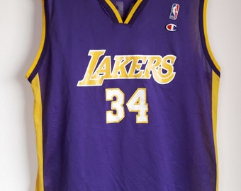 Vintage 90s Champion Shaquille O  Neal Los Angeles Lakers  34 Jersey Men s  44 304dffda9