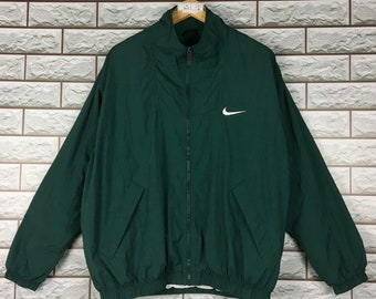 5c53ef20dc06 NIKE Green Windbreaker XLarge Vintage Nike Swoosh Hoodie Jacket Size XL
