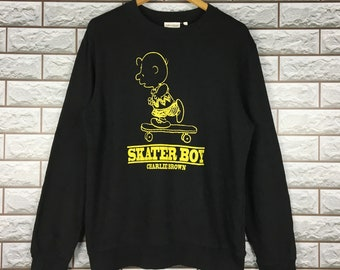 c6d812dc3f SNOOPY Sweatshirt Medium Vintage 90s Snoopy Skater Boy Charlie Brown Peanuts  Sweater Crewneck Size L