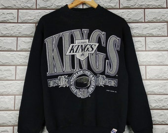 1aefe127d LA KING Sweatshirt Medium Vintage 1990s NHL Los Angelas Kings Logo 7 Ice  Hockey Sweatshirt Black S M
