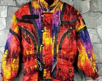 4e1d2295dd1e Vintage 90 s SALOMON Neon Ski Wear Large Multicolour Jacket Sportswear  Salomon Colorblock Skiwear Hoodie Snow Jacket Size L
