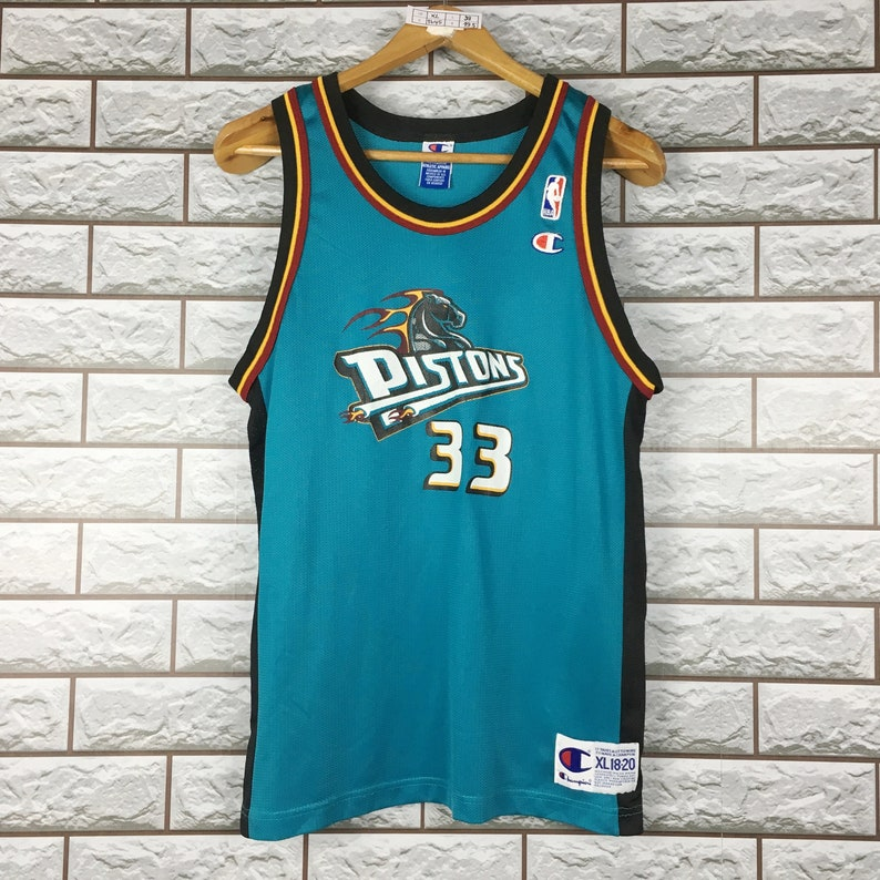 new style b6701 5ee99 Vintage 90s Champion Nba Basketball Detroit Pistons Grant Hill #33 Jersey  Size Youth X-Large