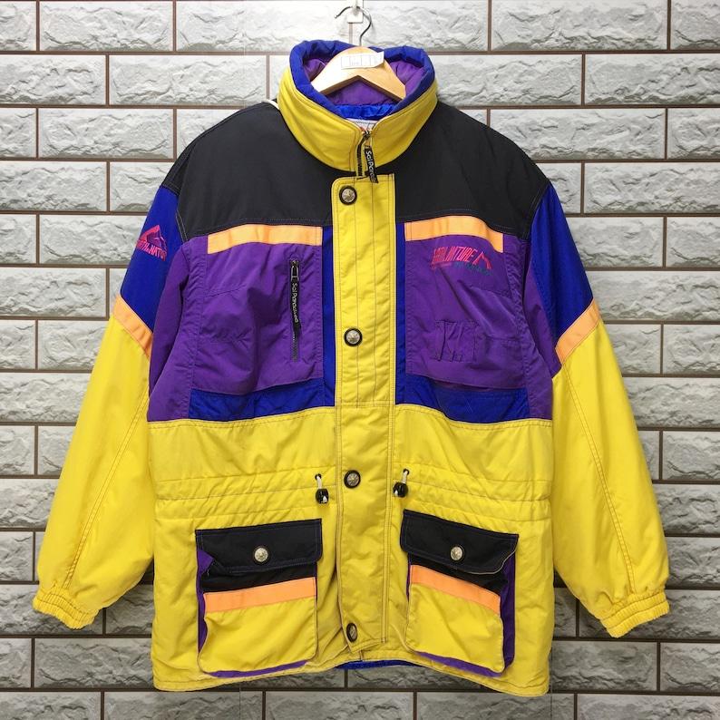 Vintage 90/'s SCI PARADISEA Neon Multicolour Abstract Art Jacket Sportswear Colorblock Ski Wear Hoodie Snow Warmer Jacket Size  L