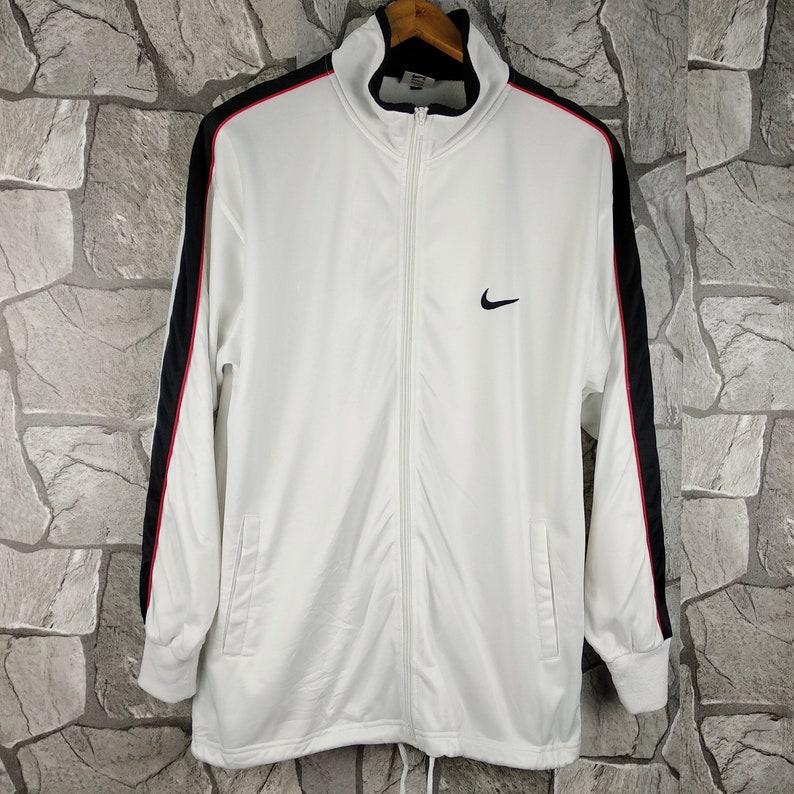 wholesale dealer 1d7a8 3b852 Vintage 90s NIKE Swoosh Track Nike Zip Sweater White Track   Etsy
