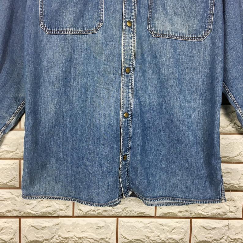 Vintage 90/'s TRUSSARDI Denim Trussardi Buttondown Shirt Flannel Western Blue Jeans Size M