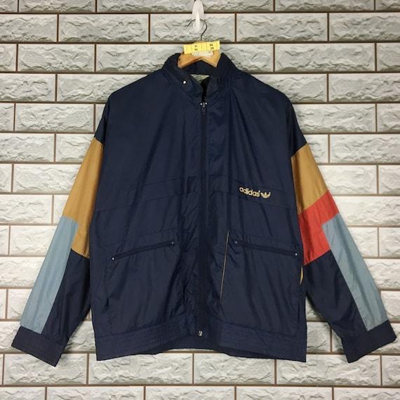 Vintage 1990s Adidas Trefoil Sportswear Hip Hop Windbreaker Hoodie Jacket Size M
