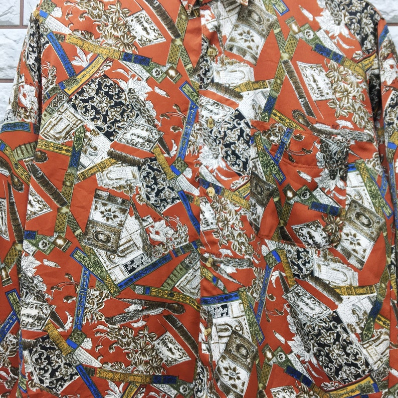 Vintage 90s Abstrack Artwork Royalty Classic Novelty Baroque Psychedelic Luxury Buttondown Shirt Size M