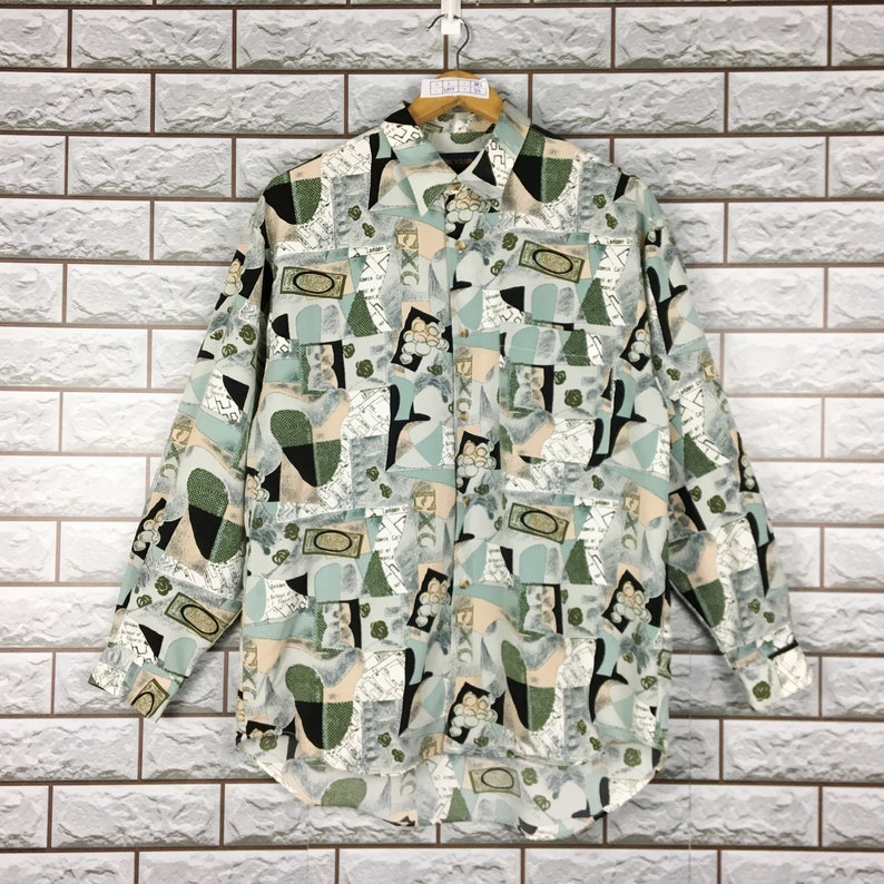 Vintage 90s Teddy Wilson Abstrack Artwork Royalty Classic Novelty Baroque Psychedelic Luxury Buttondown Silk Shirt Size L