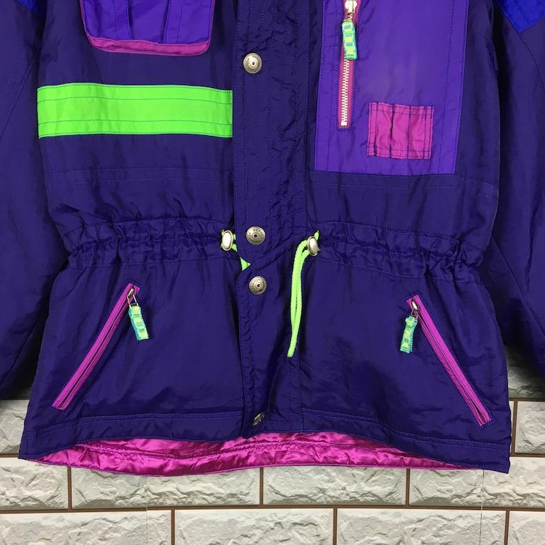 Vintage 90/'s ELLESSE Neon Ski Wear Multicolour Jacket Sportswear Ellesse Colorblock Skiwear Hoodie Snow Jacket Size M L