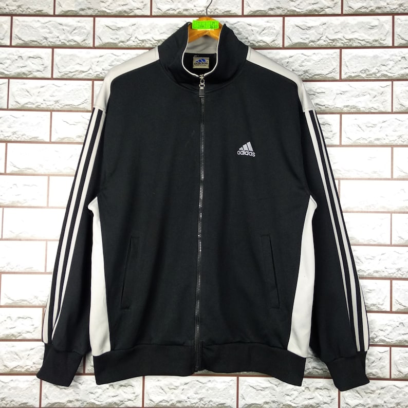 ADIDAS Track Top Jacket Large Vintage 90s Adidas Equipment Sweater Track Jacket Size L