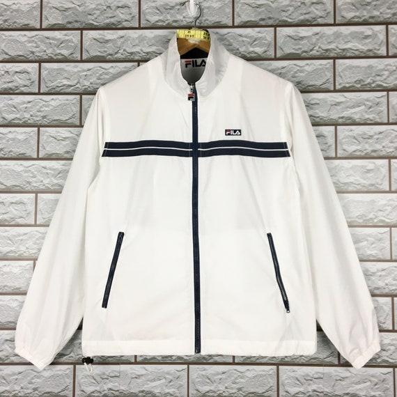 FILA Windbreaker Medium Vintage 90s Fila White Sport Sportswear Windbreaker Hoodie Jacket Size M
