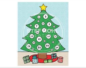 Christmas Tree Advent Calendar Christmas Countdown Printable JPEG Instant Download