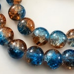 25 Orange and blue beads, 10mm glass beads, crackle beads, 10 mm glass bead, patterned beads, beads with patterns, pattern beads, 2 colors