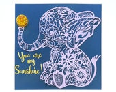 Baby Elephant Paper and Real Flower Art - One of a kind Personalized Gift - Elegant Paper Wall Art in a large square frame