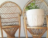 pair of mini boho wicker chairs . rattan plant stands