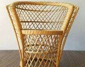 mini wicker barrel chair . rattan plant stand