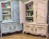 Sold Carved Vintage Louis Style French Shabby Chic Bookcase Display Drinks Cabinet Annie Sloan Louis Blue Boys Room