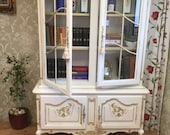 Sold Carved Vintage Louis Style French Shabby Chic Bookcase Display Drinks Annie Sloan Old White