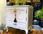 Shabby Chic French Painted Oak TV unit Drinks Cabinet Sideboard in Fusion mineral Raw Silk