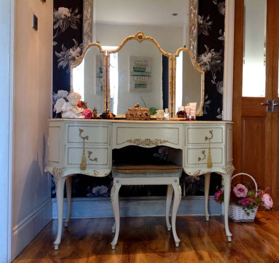 Vintage French Louis Style Olympus, Vintage Style Vanity Table With Mirror