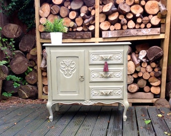 SOLD~~Stunning Carved Shabby Chic Side board in Annie Sloan Chalk Paint