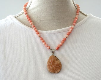 coral necklace, pink coral necklace, pink statement necklace, stone pendant necklace, druzy pendant necklace, pendant statement necklace