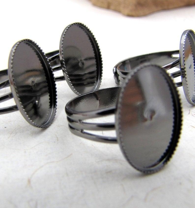 Gunmetal 18x13mm Blank Ring Base Bezel Adjustable