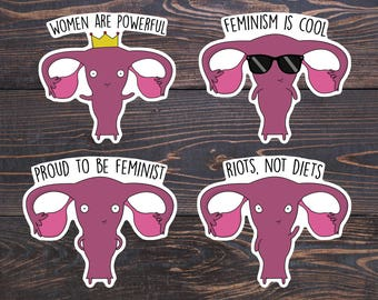 Cute Feminist Stickers - Uteruses/Ovaries Before Brovaries Vinyl - Feminism is Cool Sticker/Riots not Diets/Girl Power Decal - Feminist Gift