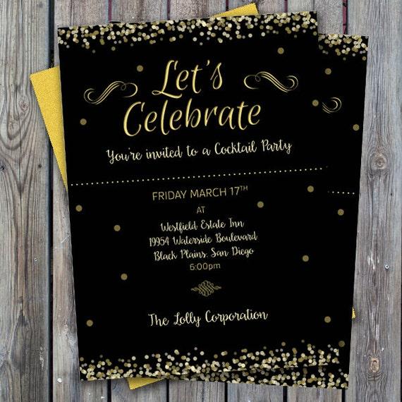 Cocktail Party Einladung Druckbare Party Einladung Geschäftseinladung Digitale Einladung Glamour Party Einladen Abendessen Einladung