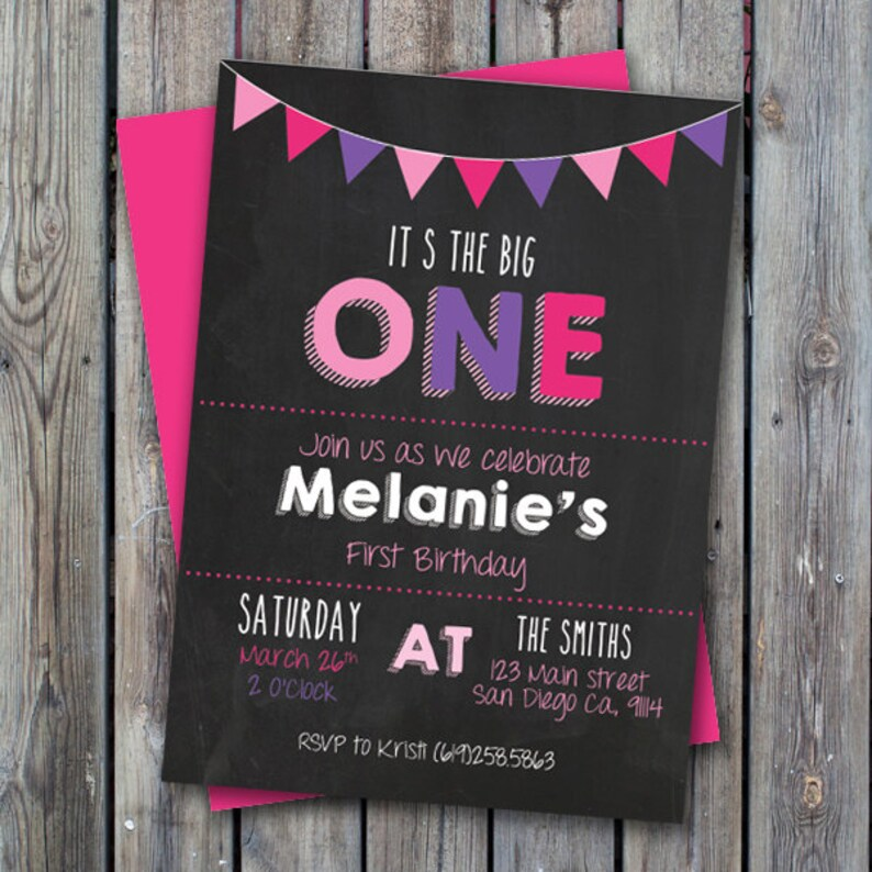 Printable Girl First Birthday Party Invitation One Year Old