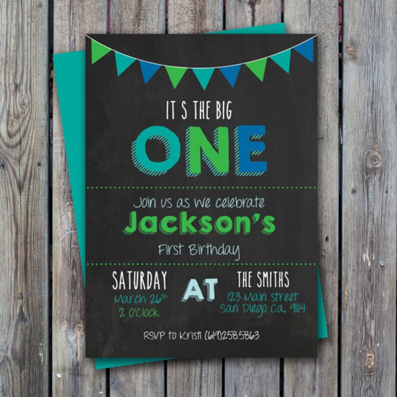 Printable First Birthday Invitation Boy One Year Old Party