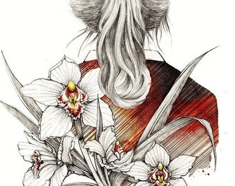 Spring . Watercolor illustration. Fine art print.