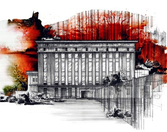 Berghain Wall Decoration. Wall decor. Wall art print. Watercolour Ink Building architecture drawing. Techno Club in Berlin Germany