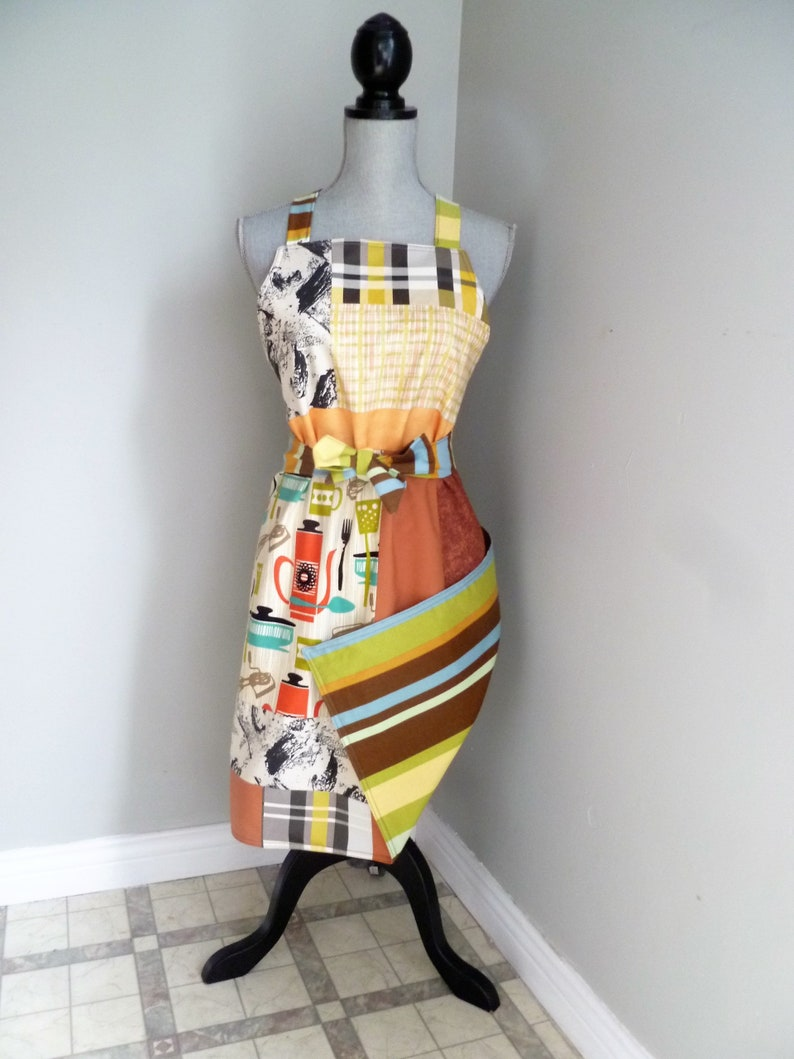 original and unique one size men women reversible adjustable orange green yellow plaid lines Apron washable machine patchwork