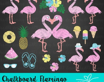 Chalkboard Flamingo Clipart / Digital Clip Art for Commercial and Personal Use / INSTANT DOWNLOAD