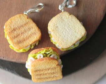 Sandwich charm, handmade with polymer clay, miniature food jewelry, one of a kind jewelry, handmade gifts, for her, realistic food miniature
