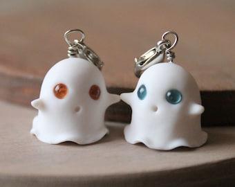 Glow in the Dark Ghost Bat Zombie Skeleton Halloween Polymer Clay Charms Keychain Cat Witch Pumpkin