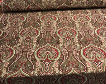 """56"""" Wide Damask Jaclyn Ruby Chenille Upholstery Drapery Sofa fabric sold the yard"""