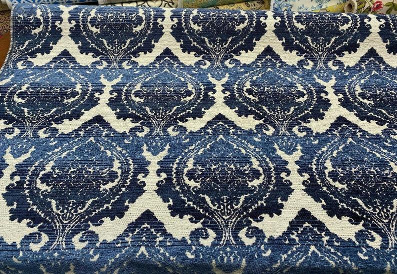 Italian Damask Chenille Greco Indigo Upholstery Blue Fabric By The Yard