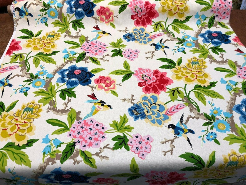 Waverly 45 Candid Moment Gardenia Birds Floral Fabric By The Yard