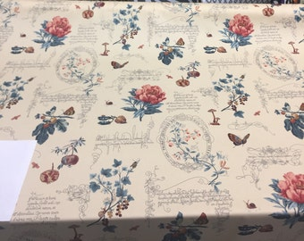 Fresh Cuttings Champagne Pomegranate butterfly Script Floral Fabric By the yard Multipurpose