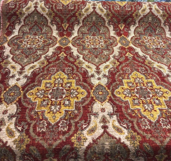 Kelham Crimson Chenille Tapestry Upholstery Fabric By The Yard Etsy