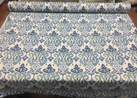 45'' Print Mill creek Blue on white Damask Cotton fabric by the yard  Multipurpose