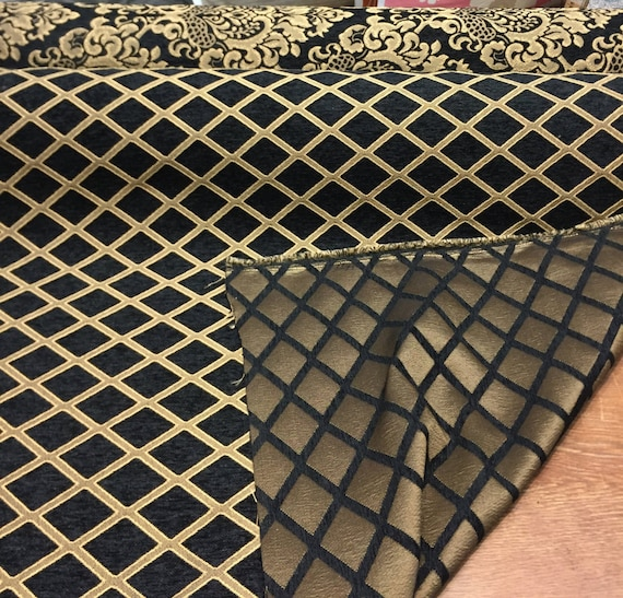 Chenille Black Gold Diamond Furniture Upholstery Fabric By The Etsy