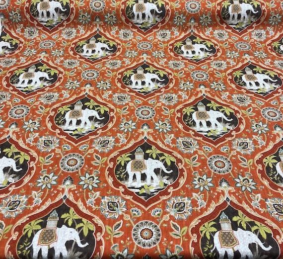Sanaya Elephants Paprika Swavelle Mill Creek Upholstery Fabric Etsy