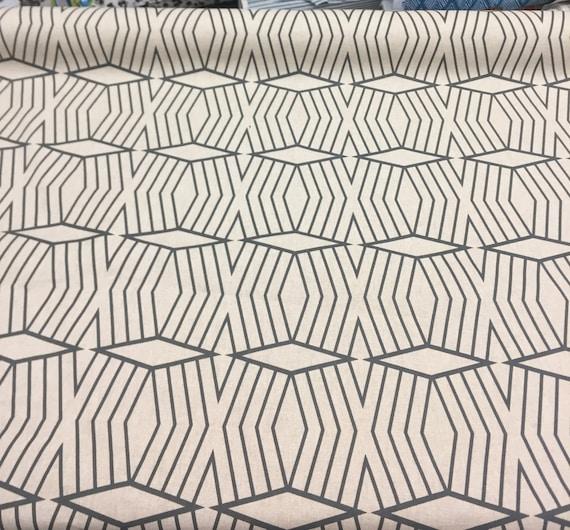 Cotton Canvas Diamond Stripe Stone White