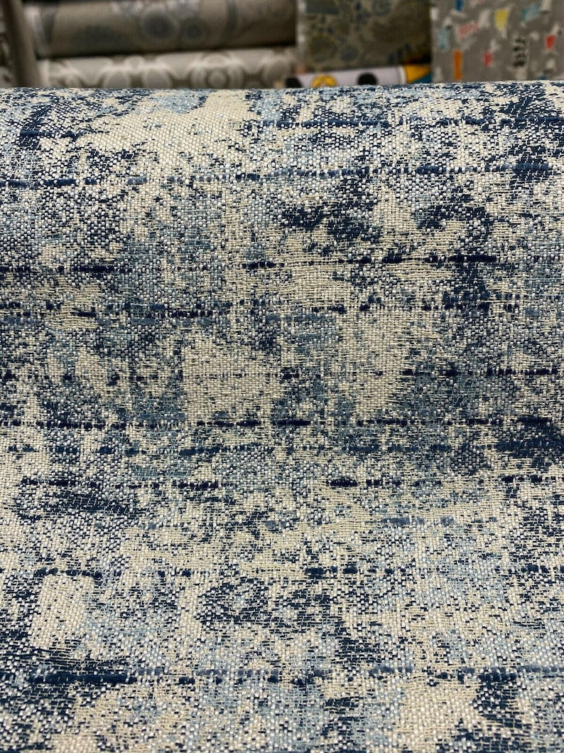 Swavelle Chenille Front Row Sea Blue Upholstery Fabric By The Yard