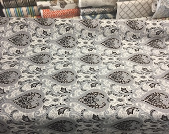Dark Brown With Silver Damask Fabric Chenille upholstery Fabric With Matching patterns by the yard