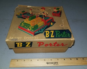 Very Rare B-Z Porter Battery Operated Tin Toy Made in Japan Trade Mark Modern Toys