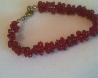 Vintage Ruby Red Beaded Bracelet